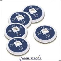 Set 4 + 1 Currencies Chinese Aluminum Size Half Dollar by Camil Magic