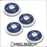 Set 4 Monedas Chinas Aluminio Tamaño Medio Dolar por Camil Magia